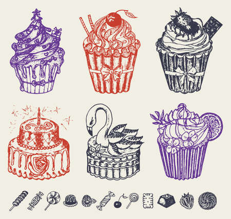Sweet cakes in vintage style. Tasty pastry. Doodle retro style. Vector illustration. Bakery products