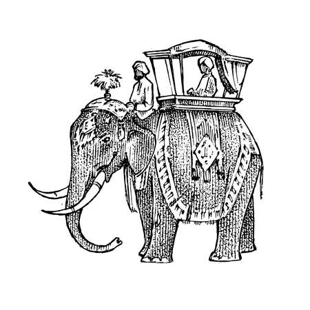 Set India culture. Elephant and temple, a woman in national dress and the inscription double exposure. Hand drawn engraved in vintage sketch style.