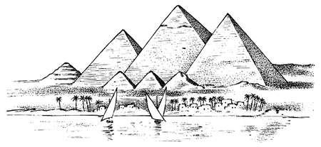 Sieben Weltwunder der Antike. Grosse Pyramide von Gizeh. Der große Bau der Griechen. Handgezeichnete gravierte Vintage-Skizze.