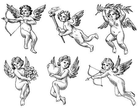 Ángeles lindos con flechas y arco. Pequeños Cupidos estéticos con alas vuelan con corazones y flores en el cielo. Conjunto de niños en estilo grabado monocromo. Boceto vintage dibujado a mano. Ilustración de vector