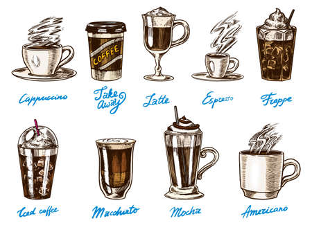 Coffee in vintage style. A bag of grain, cocoa leaves, cinnamon sticks, a cup and a teapot, a coffee maker and a bag of milk, calligraphic inscription. Hand drawn engraved retro sketch for labels. Иллюстрация
