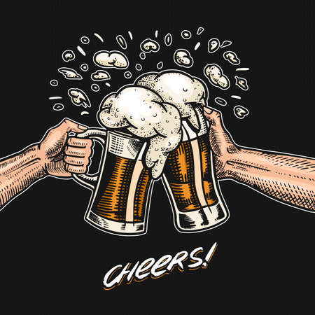 Cheers toast. Beer in hand. Vintage Alcoholic Label with calligraphic element. American banner or poster. Hand drawn engraved sketch lettering for web, pub menu.