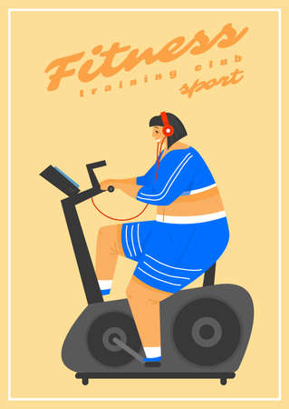 Fitness Woman Poster. Health sport in club. Cute Plus Size banner. Fat girl doing exercises, running on the simulator, loses weight, warming up. Full body character on pastel background. Иллюстрация