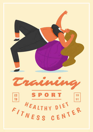 Fitness Woman Poster. Health sport in club. Cute Plus Size banner. Fat girl doing exercises, loses weight, warming up. Full body character and ball on pastel background.