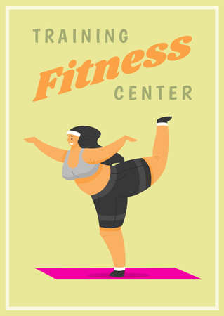 Fitness Woman Poster. Health sport in club. Cute Plus Size banner. Fat girl doing exercises, loses weight, warming up. Full body character on pastel background. Иллюстрация