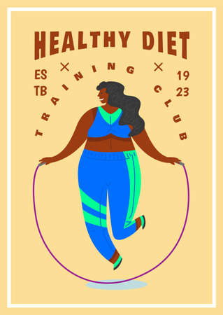 Fitness Woman Poster. Health sport in club. Cute Plus Size banner. Fat girl doing exercises, loses weight, warming up. Full body character and jump rope on pastel background.