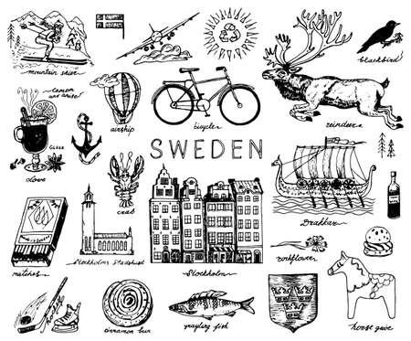 Simboli della Svezia in stile vintage. Schizzo retrò con segni tradizionali. Cultura scandinava, intrattenimento nazionale nel paese europeo. Ecologia e lavorazione, bicicletta e animali, inverno e freddo.