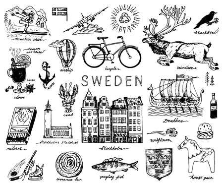 Symboles de la Suède dans un style vintage. Croquis rétro avec signes traditionnels. Culture scandinave, divertissement national dans un pays européen. Écologie et transformation, vélo et animaux, hiver et froid.