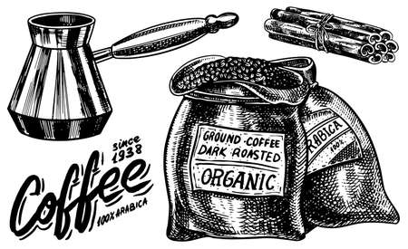 Bag of coffee beans in vintage style. Hand drawn engraved retro sketch. Maker Calligraphic inscription and cinnamon sticks for label or menu. Фото со стока - 129920998