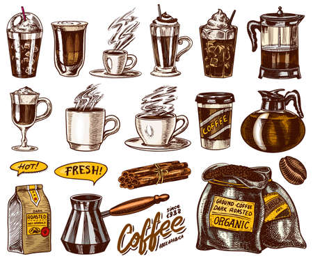 Set of cups of coffee in vintage style. Take away espresso and latte, mocha and Americano, Cappuccino and Glace, frappe in a glass. Hand drawn engraved retro sketch. Иллюстрация