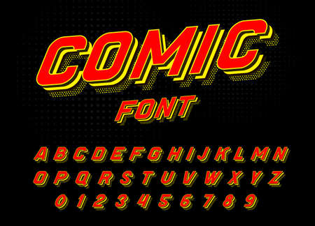 Comic font for posters. Pop art retro game alphabet. Vintage Futuristic 80 s typeface, editable and layered. Vector modern chrome letters in disco style for banners.