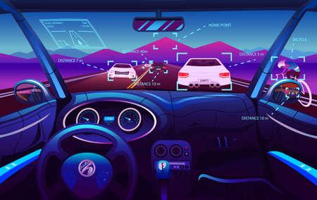 Salón de vehículos futuristas, coche eléctrico inteligente. Vista del conductor. Control del tablero de instrumentos en un automóvil inteligente. Control virtual o simulación auto pilotada. Tráfico en una carretera. Antecedentes de la interfaz.