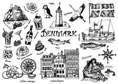 Symbole von Dänemark im Vintage-Stil. Retro-Skizze mit traditionellen Zeichen. Skandinavische Kultur, nationale Unterhaltung im europäischen Land. Häuser, Getränke, Meerjungfrau und Schiff, Tiere und Meeresbewohner.