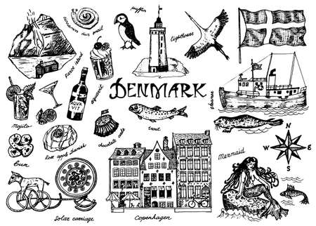Symbols of Denmark in vintage style. Retro sketch with traditional signs. Scandinavian culture, national entertainment in European country. Homes, drinks, mermaid and ship, animals and sea creatures.
