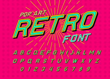 Disco font for posters. Comic retro alphabet. Vintage Futuristic 80 s typeface, editable and layered. Vector modern chrome letters in Pop art style for banners.