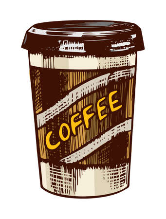 Latte coffee to go in vintage style. Hand drawn engraved retro sketch for labels. Hot drink. Cappuccino template for a label or menu.