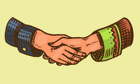 Handshake peoples. Symbol of friendship and partnership. Peace in the world. Hand drawn engraved vintage sketch.