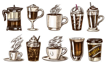 Set of cups of coffee in vintage style. Take away Cappuccino. Hand drawn engraved retro sketch.