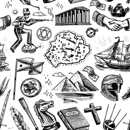 History seamless pattern in vintage style. Education, religion and old ancient symbols. School subject. Background for print or web site. Hand drawn engraved doodle sketch. Иллюстрация