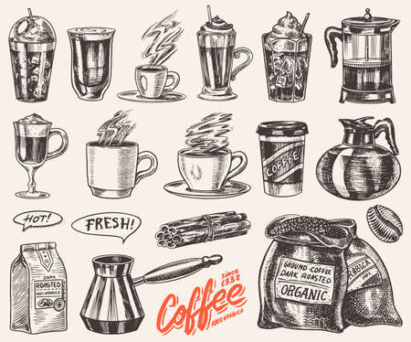 Set of cups of coffee in vintage style. Take away Cappuccino and Glace, espresso and latte, mocha and Americano, frappe in a glass. Hand drawn engraved retro sketch.
