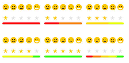 Set of feedback or quality control. Rating mood with smiles, emoji or smile face. User review of service. Vector icons positive, neutral and sad