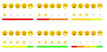 Set von Feedback oder Qualitätskontrolle. Bewertung der Stimmung mit Lächeln, Emoji oder Lächeln. Benutzerbewertung des Dienstes. Vektorsymbole positiv, neutral und traurig