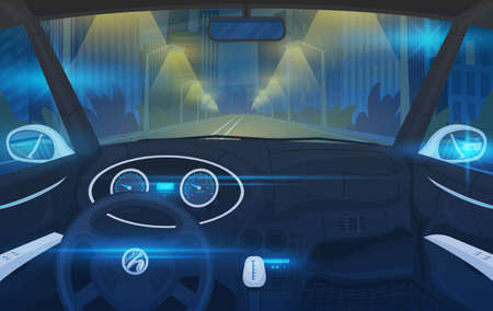 Futuristic Vehicle salon, Electric smart car. Driver view. Dashboard control in a smart car. Virtual control or auto piloted simulation. Traffic on a road. Background for the interface. Illustration