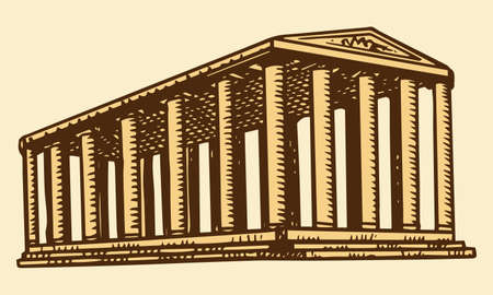 Historical building with columns. Seven Wonders of the Ancient World. Temple of Artemis at Ephesus. The great construction of the Greeks. Hand drawn engraved vintage sketch.