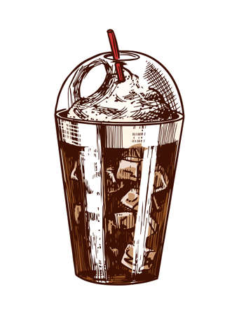 A glass of ice coffee in vintage style. Hand drawn engraved retro sketch for labels. Hot drink. Cappuccino template for a label or menu.