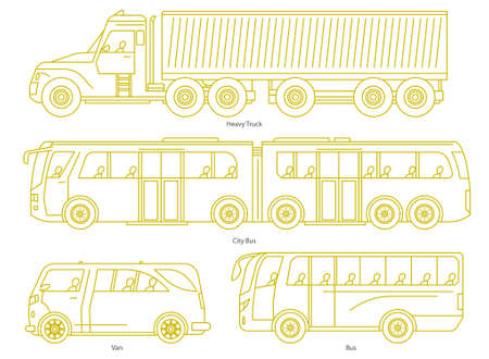 Car body style. Outline Public transport and Passenger Coupe. City bus, heavy truck, Van. Three and five-door auto. Set of Monoline doodle icons.