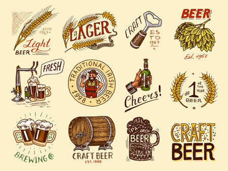 Bottle of beer in hand with the inscription Cheers toast. Rye and wheat. Set of Vintage labels and badges for poster. Hand drawn engraved sketch for pub menu. 写真素材 - 129921045