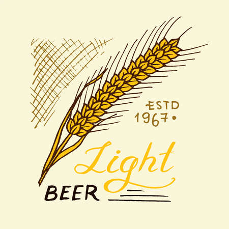 Rye for wheat beer in vintage style. Alcoholic Label with calligraphic elements. Classic American badge for poster banner. Hand drawn engraved sketch lettering for web, pub menu.