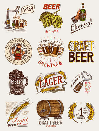 Bottle of beer in hand with the inscription Cheers toast. Rye and wheat. Set of Vintage labels and badges for poster. Hand drawn engraved sketch for pub menu. Illustration