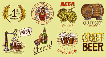 Bottle of beer in hand with the inscription Cheers toast. badge. Opener, Rye and wheat. Vintage label with calligraphic elements. American frame for poster. Hand drawn engraved sketch for pub menu.