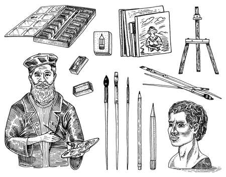 Tools and materials of the artist for drawing in the art salon. Easel, paints, paintings, brushes, pencils. Craft creative people. Equipment in Doodle style. Engraved hand drawn sketch.