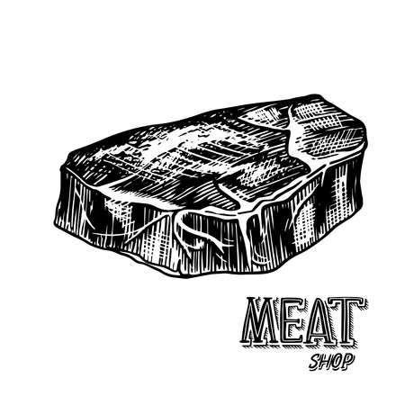 Grilled meat steak, BBQ Pork or beef Barbecue. Food in vintage style. Template for restaurant menu, emblems or badges. Hand drawn sketch. Ilustracja