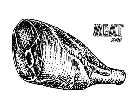 Grilled meat, Raw Pork or beef leg. Barbecue food in vintage style. Template for restaurant menu, emblems or badges. Hand drawn sketch. Ilustracja