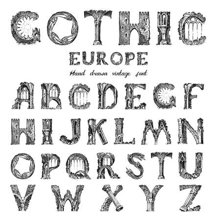 Decorative Gothic alphabet in ancient style. Antique old Font for labels. Vintage typeface. Editable and layered monogram. Hand drawn Vector modern letters
