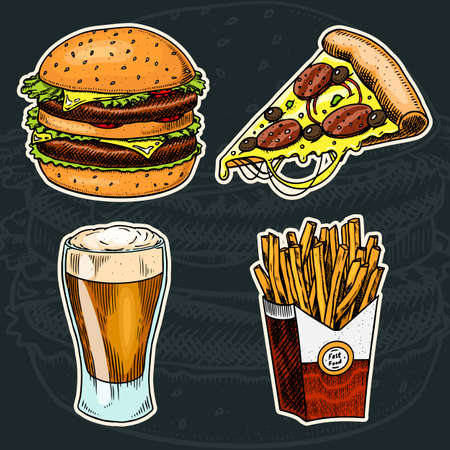 Junk Fast food, Burger and pizza, beer and french fries on a black background. Vintage Sketch for restaurant menu. Hand drawn stickers in retro style.  イラスト・ベクター素材