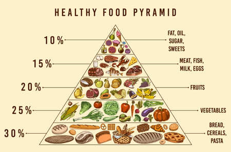 Healthy food plan pyramid. Infographics for Balanced Diet percentage. Lifestyle concept. Ingredients for meal plan. Nutrition guide. Hand drawn in vintage style.