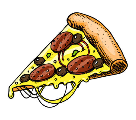 A slice of pizza. Fast food in vintage style. Hand drawn illustration for a label or badge.