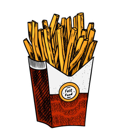 French fries in vintage style. Fast food illustration for banners or posters. Hand drawn sticker. Stockfoto - 129902068