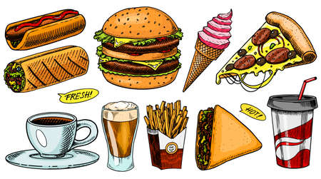 Junk Fast food, burger and hamburger, tacos and hot dog, burrito and beer, drink and ice cream. Vintage Sketch for restaurant menu. Hand drawn stickers in retro style. Imagens - 129902067