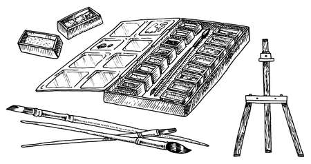 Paints and brushes for artists. Creative tools in vintage style. Engraved Hand Drawn Sketch