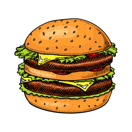 Big burger in vintage style. Fast food illustration for banners or posters. Hand drawn sandwich with vegetables and a bun