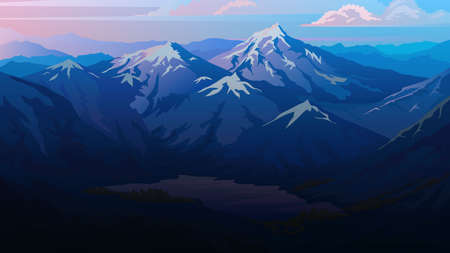 Dark blue mountains. Layered landscape and pastel sunset. Hiking and camping concept. Unbelievable Fog in the swiss valley and Austrian Alps. Vector illustration Background for travel banner or poster