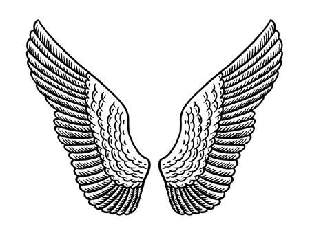 Angel wing in vintage style. Template for tattoo and emblems, t-shirts and logo. Emblem for stickers. Engraved sketch. Vector illustration. Archivio Fotografico - 130893533