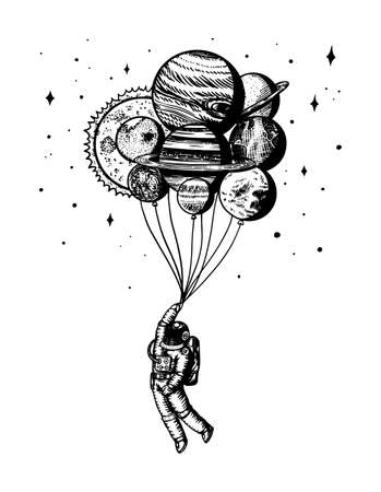 Soaring Spaceman. Astronaut with planets. Balloons in space. Man in the solar system. Engraved hand drawn Old sketch in vintage style.