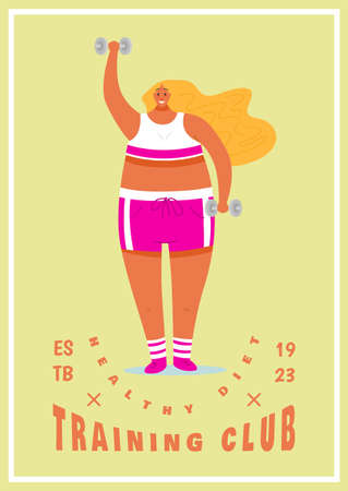 Fitness Woman Poster. Health sport in club. Cute Plus Size banner. Fat girl doing exercises, loses weight, warming up. Full body character on pastel background