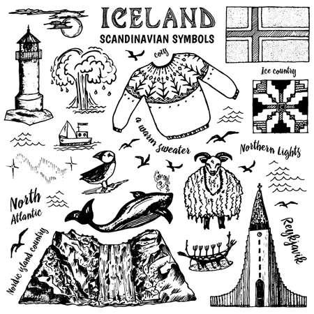 Ensemble de symboles de l'Islande dans un style vintage. Signes nationaux traditionnels sur fond blanc. culture scandinave. Croquis de doodle contour dessiné à la main. Pull, montagnes, drapeau, baleine et phare.